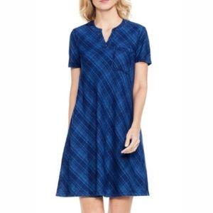 Vince Camuto blue plaid A line Dress